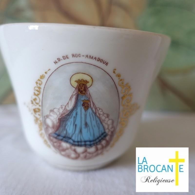 Tasse ancienne en porcelaine Notre Dame de Roc Amadour