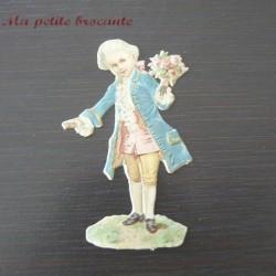 Chromo ancien découpis gaufré enfant et bouquet de roses