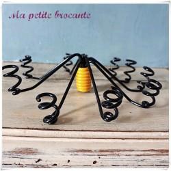 Centre de table porte bougies design des années 60/70 scoubidous
