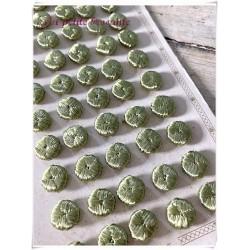 Plaque boutons en fil de soie vert passementerie A. Houlès Paris XIIe
