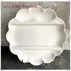 Assiette à asperges en porcelaine blanche de Limoges