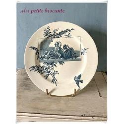 Assiette plate en terre de fer la Samaritaine thème nature morte