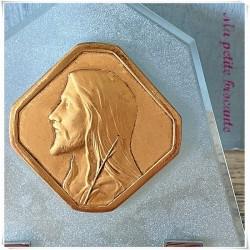 Christ à poser sur plaque en verre givré et support inox