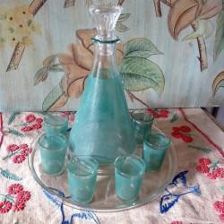 Cabaret à liqueur plateau carafe et petits verres