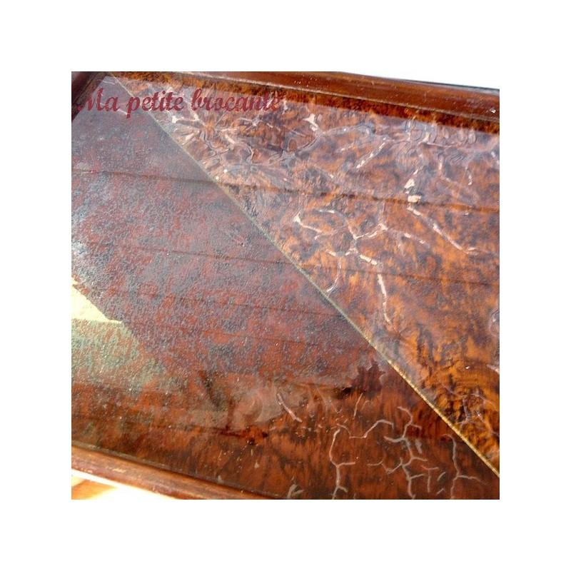 Joli petit plateau art déco dessus verre