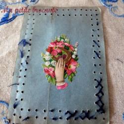 Carte recto verso chromos la récolte des pommes et bouquet floral