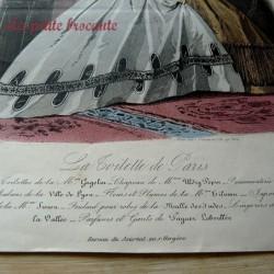 Ancienne gravure de mode la toilette de Paris n° 123