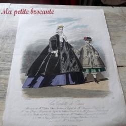 Ancienne gravure de mode la toilette de Paris 1