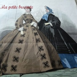 Ancienne gravure de mode la toilette de Paris 2