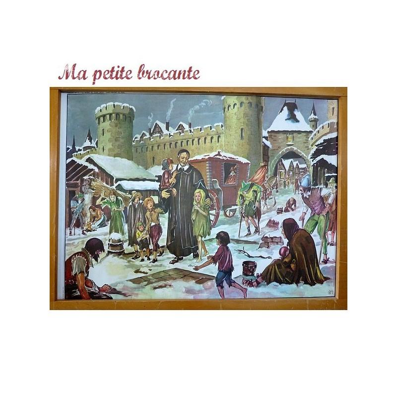 Affiche scolaire pédagogique n° 9 et 10 Saint Vincent de Paul et Versailles