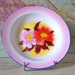 Belle assiette creuse en tôle émaillée décor floral