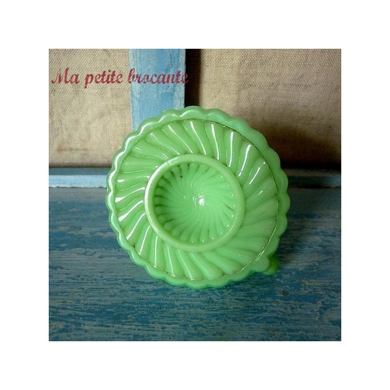 Bougeoir de dinette en opaline verte Portieux