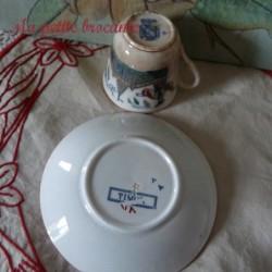 Tasse et soucoupe Timor de Sarreguemines décor japonisant