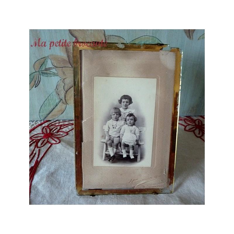 Ancien cadre porte photo réglable en laiton 1900