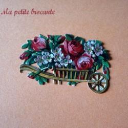 Chromo découpi chariot fleuri