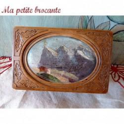 Récepteur à galène dans un joli coffret souvenir des Alpes