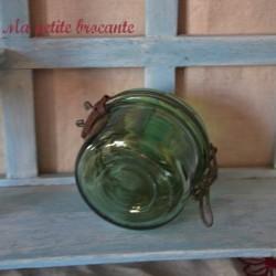 Bocal de conserve ancien en verre épais et bullé 350 Gr