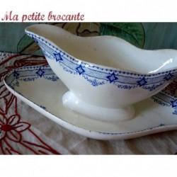 Saucière ancienne en faïence décor de frise florale Lavoisier HB & Cie